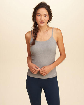 Removable-Pads Ribbed Sleep Cami