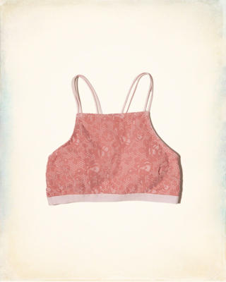Gilly Hicks Removable-Pads Velvet High-Neck Bralette