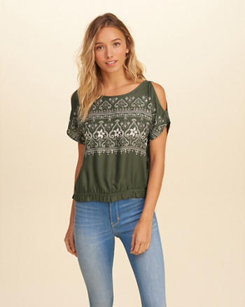 Patterned Shine Cold Shoulder Top