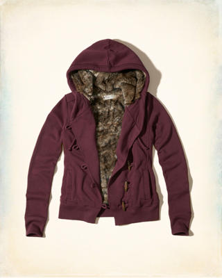 Faux Fur Lined Toggle Hoodie
