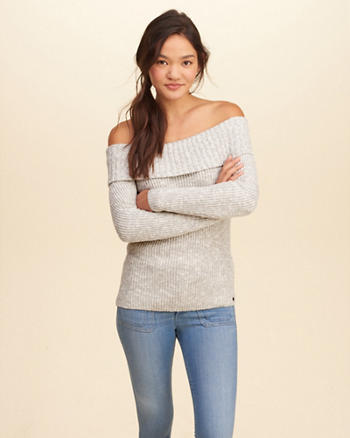 Off-The-Shoulder Ribbed Sweater