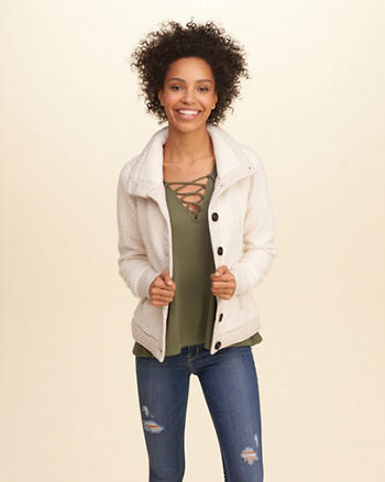 Button-Front Sherpa Sweatshirt
