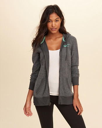 Full-Zip Graphic Tunic Hoodie