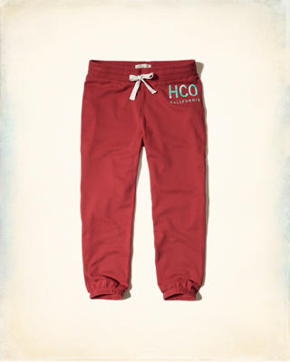 Hollister Logo Graphic Crop Banded Sweatpants