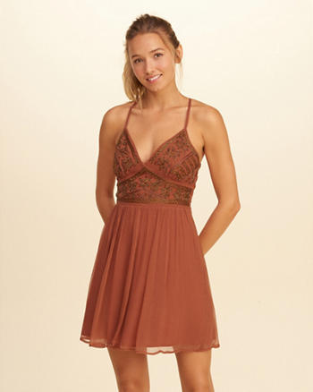Beaded Chiffon Skater Dress