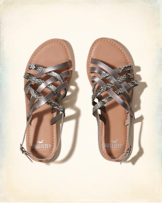 Mixed Strap Weave Sandal