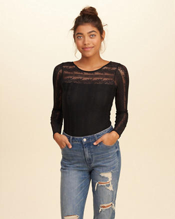 Scoop Back Lace Bodysuit