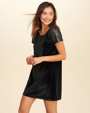 Sequin Sleeve Velvet Shift Dress