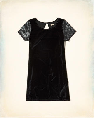 Sequin-Sleeve Velvet Shift Dress