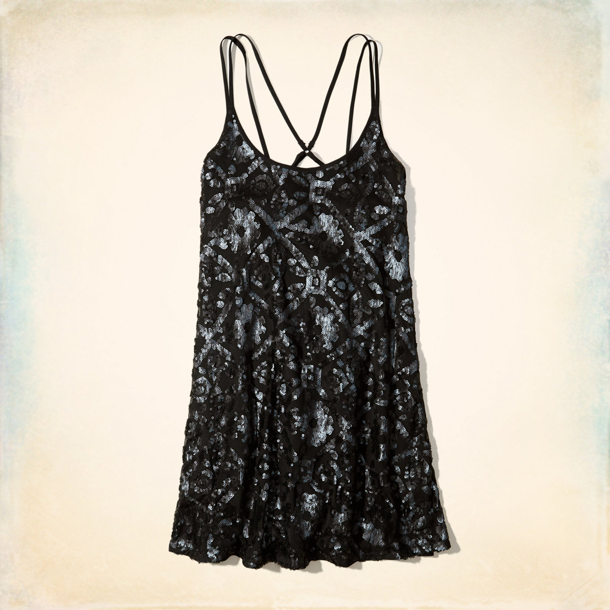 Strappy Back Sequin Swing Dress