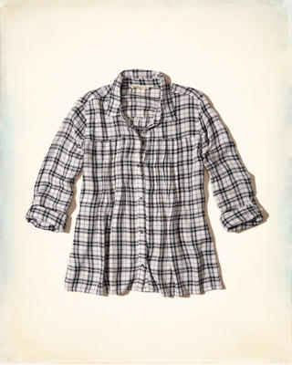 Pintuck Plaid Shirt