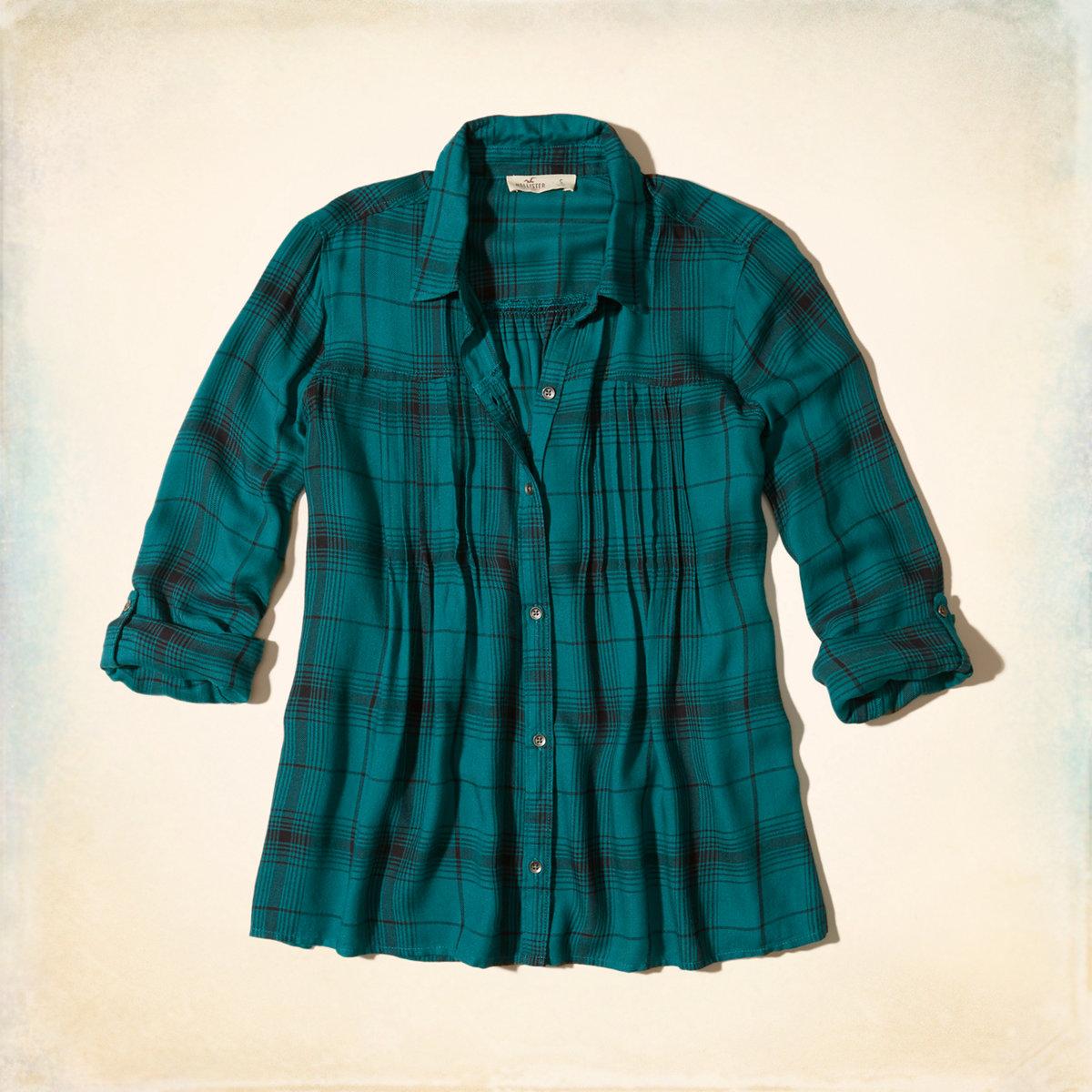 Pintuck Plaid Shirt