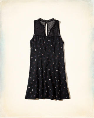 Tie-Neck Floral Rayon Dress