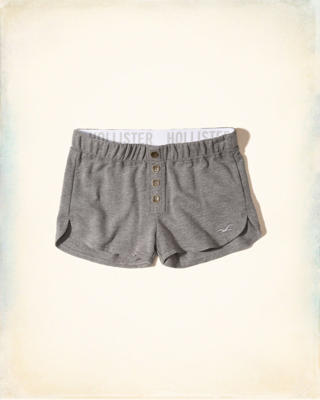 Button-Front Terry Shorts
