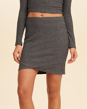 Wrap Front Knit Bodycon Skirt
