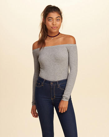Off-The-Shoulder Ribbed Bodysuit