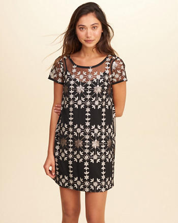 Shine Mesh Shift Dress