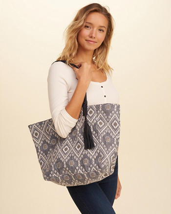 Patterned Jacquard Tote Bag