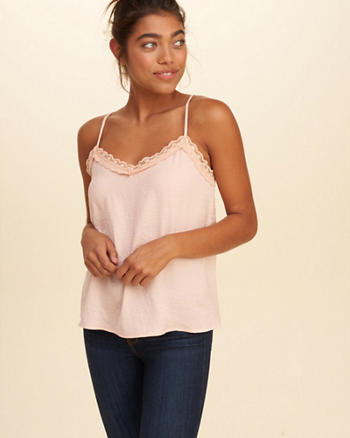 Lace-Trim Satin Cami