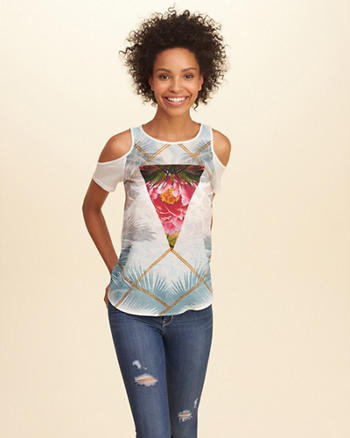 Chiffon Cold Shoulder Graphic Tee