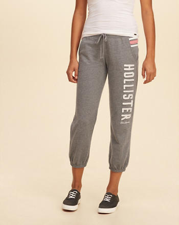 Graphic Crop Banded Sweatpants