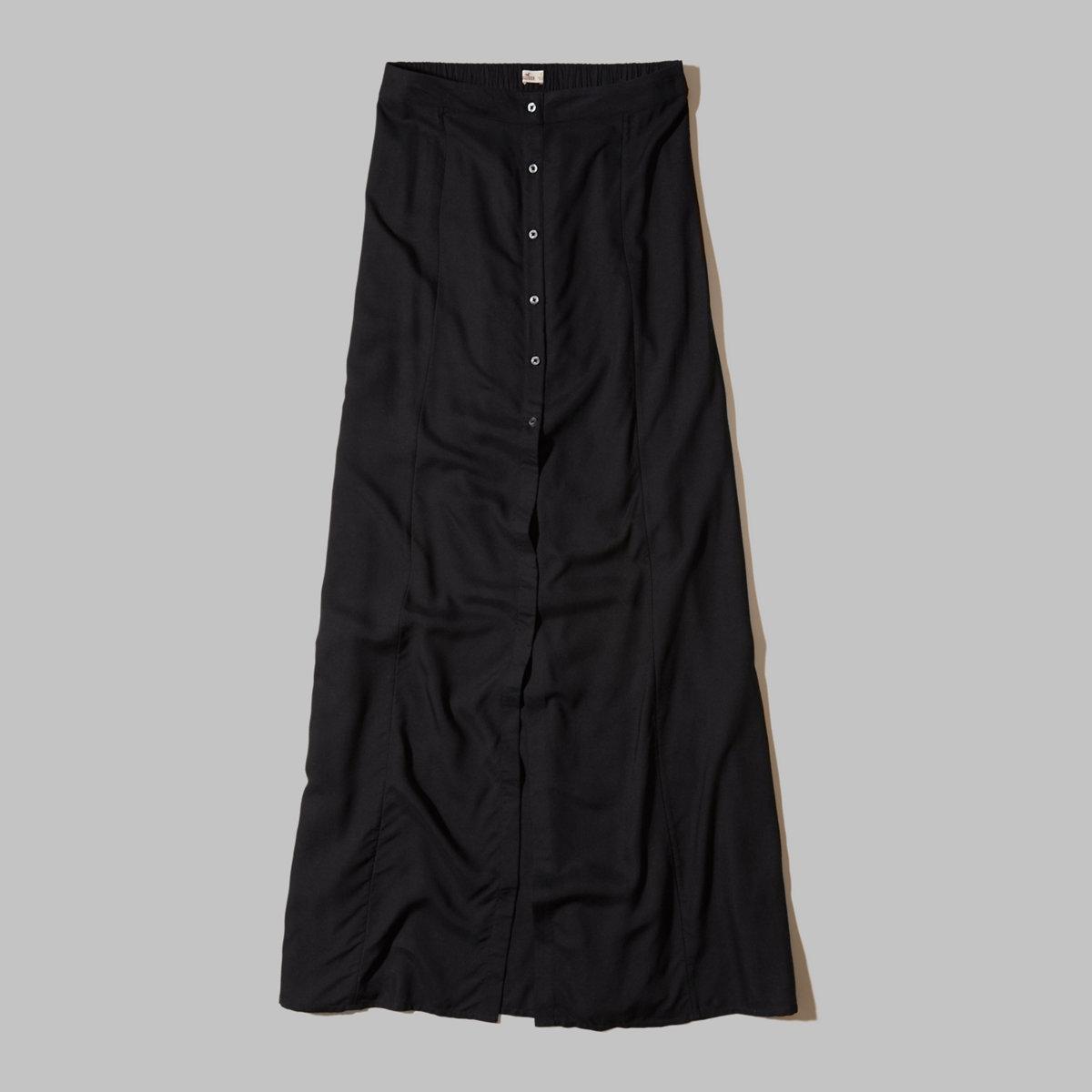 Button-Front Maxi Skirt