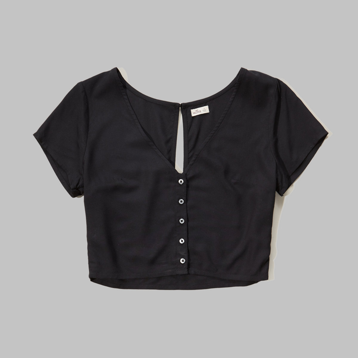 Button-Front Cropped T-Shirt