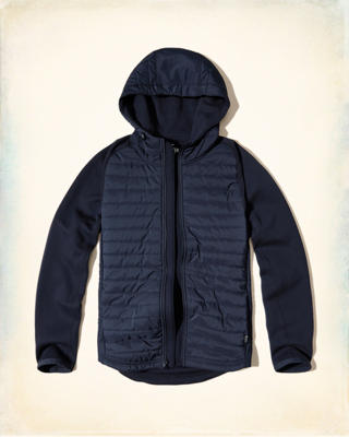 Quilted Nylon Hoodie