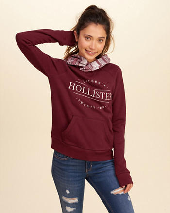 Foldover Hood Graphic Sweatshirt