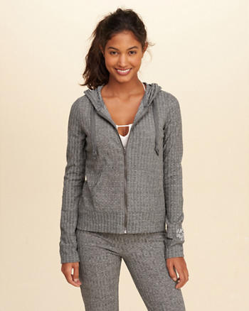 Hollister Ribbed Graphic Hoodie