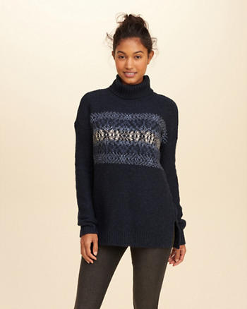 Patterned Turtleneck Tunic Sweater