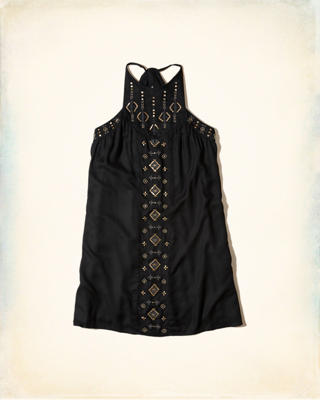 Embellished High-Neck Shift Dress