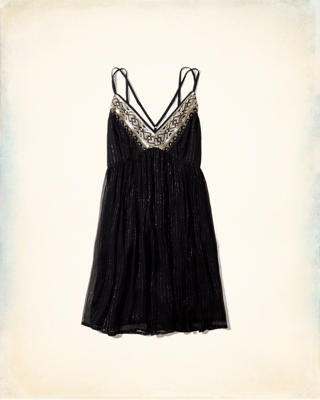 Embellished Shine Babydoll Dress