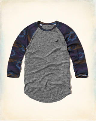 Patterned Sleeve Raglan T-Shirt