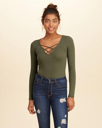 Long-Sleeve Strappy Front Bodysuit