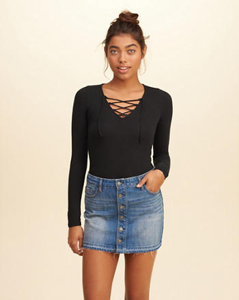 Lace-Up Jersey Bodysuit