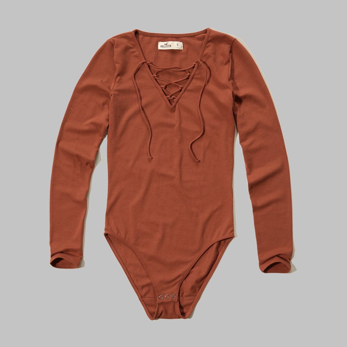 Lace-Up Jersey Bodysuit