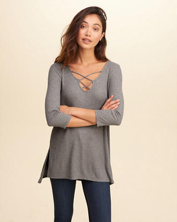 Strappy Front Ribbed Tunic