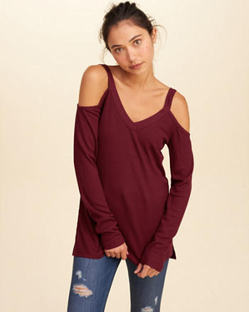 Cold Shoulder Waffle Tunic