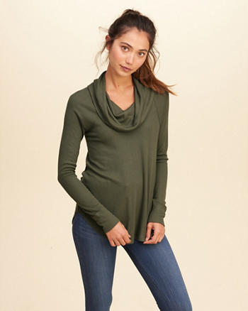 Cowl Neck Ribbed Top