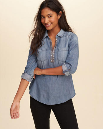 Embellished Chambray Popover Shirt