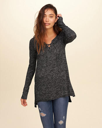 Textured Lace-Up Tunic