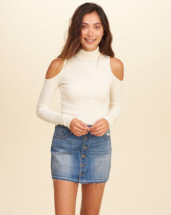Must-Have Cold Shoulder Turtleneck Top
