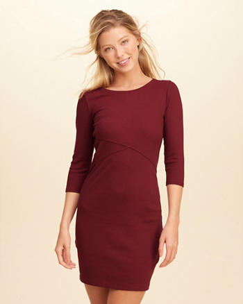 Cross-Front Ribbed Bodycon Dress