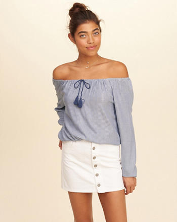 Off-The-Shoulder Tie-Neck Top