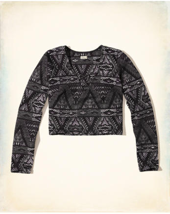 hol Patterned Ponte Strappy Crop Top