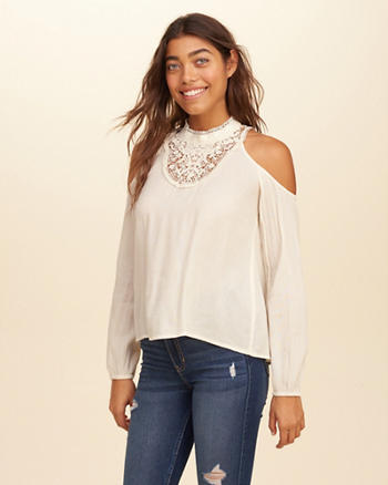 Lace Mock Neck Cold Shoulder Top