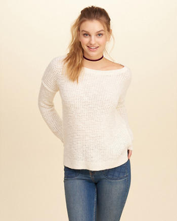 Slouchy Crew Waffle Sweater