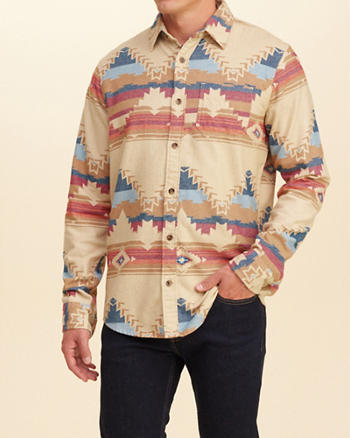 Patterned Flannel Shirt