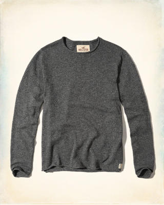 Rolled Hem Crew Sweater
